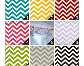Tie Up Valance Chevron Zig Zag  Lined  Curtain You Choose the Color and Size Handmade in the USA