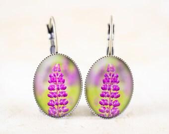 Lupine Wildflower Earrings, Pink Flower Photo Earrings
