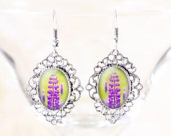 Purple Lupine Earrings - Lupin Flower Dangle Earrings , Spring Wildflower Jewelry