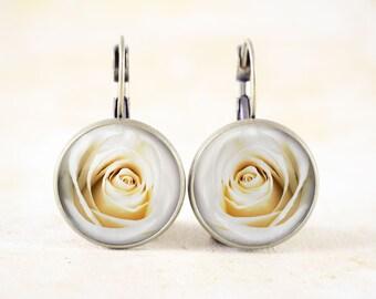 White Rose Earrings - White Flower Earrings, Rose Flower Photo Jewellery, Floral Earrings, White Rose Bud Earrings, Rose Blossom Jewelry