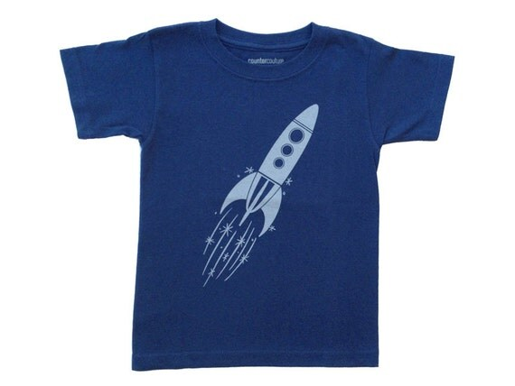 Rocket Ship Kids T-Shirt Blue Rocket By Countercouturedesign