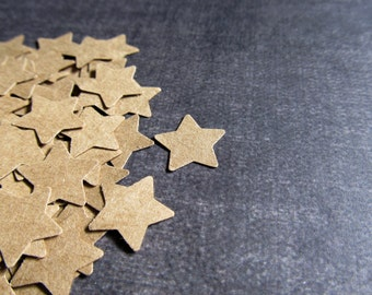 200 Punched Kraft Stars, Confetti, Party Decor, Papercrafting, Weddings