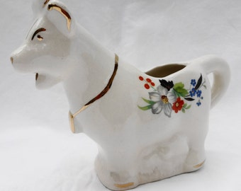 VINTAGE Porcelain Cow Creamer With Floral Design