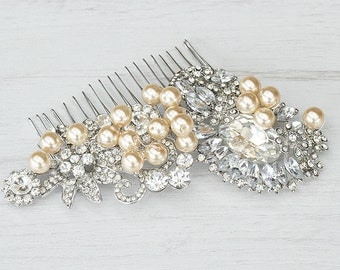 Handcrafted champagne pearls bridal hair comb. Champagne pearls crystals hair comb. Bridal hair piece.  Couture bridal hair accessories.