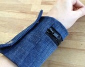 cuff wallet - larger size - Denim with black zipper