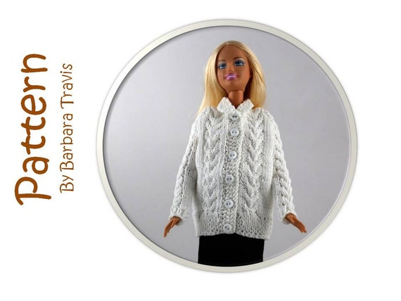 Knitting Pattern for 11 1/2 inch Doll Cardigan Barbie Sweater Cable Design