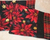 Mug Rugs Red and Black, Gold snowflakes and red and Black Plaid