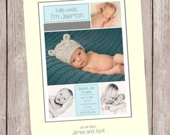 Hello World-A Simple and Stylish Custom Photo Birth Announcement for Baby Boy