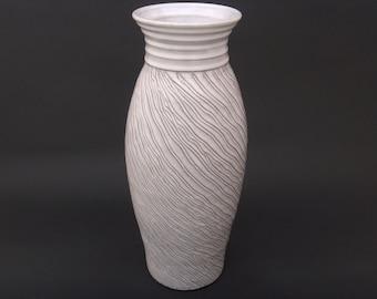 Tall White Ceramic Vase -  Hand Carved Glazed Terracotta