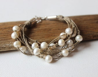 Pearl bracelet / organic linen hemp bracelet / sterling silver wedding bracelet
