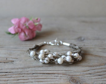Freshwater pearl bracelet / organic linen hemp bracelet / sterling silver wedding bracelet
