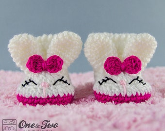Olivia the Bunny Booties - PDF Crochet Pattern - Baby sizes ( 0-3, 3-6, 6-12 months ) - Shoes Baby Newborn Slippers