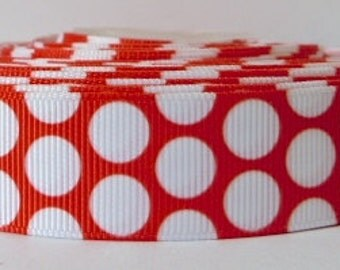 Red 22mm Polka Dot Grosgrain Ribbon