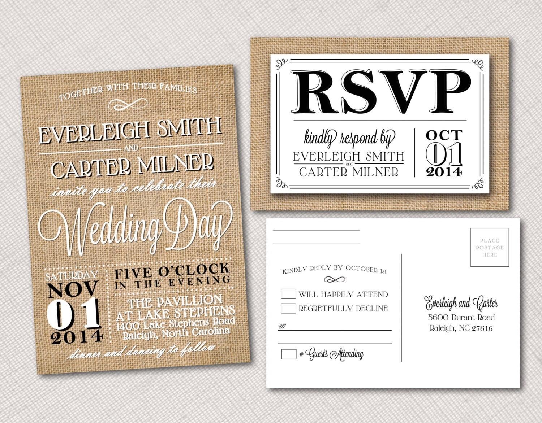 Burlap Wedding Invitation and Postcard RSVP, Program or Menu ...