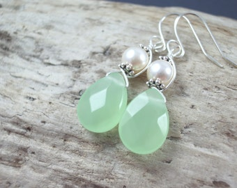 Seafoam green earrings  chalcedony teardrop bridesmaid wedding  dangle earrings