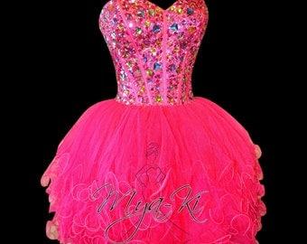 Fuschia strapless ball gown Knee Length Bridesmaid dress (MKP26)