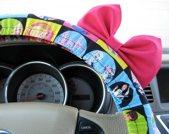 Steering Wheel Cover Bow, Retro Barbie Steering Wheel Cover with Hot Pink Bow BF11098