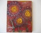TEN DOLLARS SALE! Sunburst Flowers, Mixed Media, Sunflowers Painting, Mixed Media Canvas, Mixed Media Art, Upcycled Materials, Altered Art