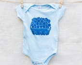 Blueberry Basket 100% Cotton Baby Onesie