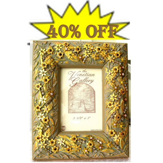SALE 40% Jeweled Ornate Frame-Wedding photo - Gift for wedding party. Golden and crystal jeweled frame