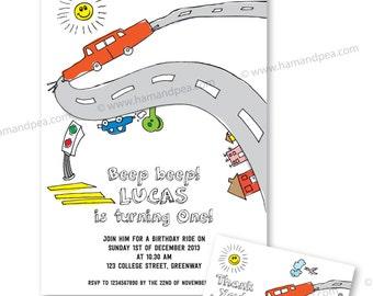 Litte Car Invitation Set (PDF Printable)