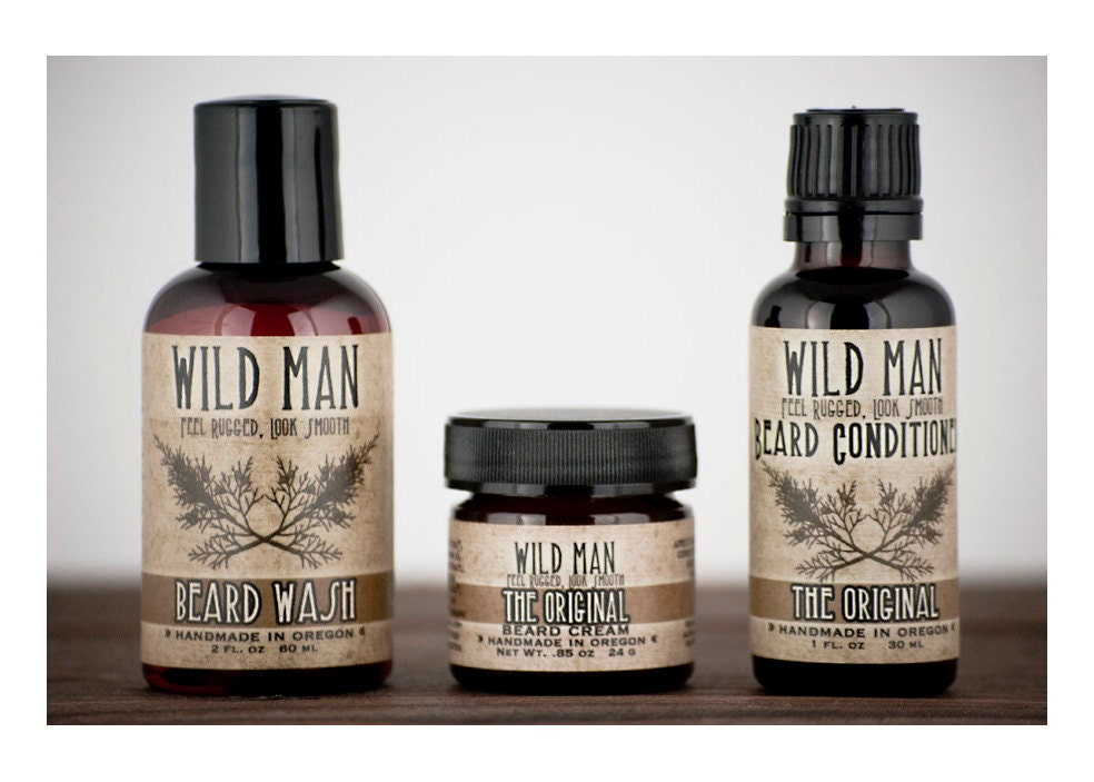 mens grooming kit wild man beard gift set three by wildroseherbs. Black Bedroom Furniture Sets. Home Design Ideas