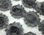 "Gray Shabby Rose Trim 2.5"" Shabby Flowers Shabby Chiffon Flowers Solid Grey Shabby Chic Trim Wholesale Rosette trim 6cm 1 yard #103"