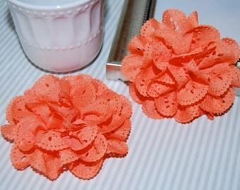 "Eyelet Chiffon  Flowers - 2 pcs Orange  - 3"" soft fabric flowers hair flower headband flowers DIY flowers brooch  - Teri Blossom"