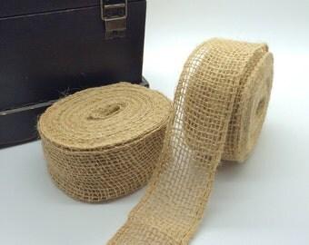 "1.5"" burlap wire edge ribbon Natural burlap jute wide trim -10 yard roll woven burlap 1 1/2 inch faux trim -no fray wired ribbon RNW38-12"