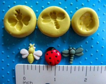 LADYBUG mold ladybird BEE dragonfly bugs insects flexible silicone for gumpaste fondant cake decorations polymer clay wax soap resin air dry