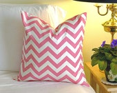 Decorative Pillow Cover Cushions - Light Pink Chevron - 18 x 18 Accent Cushion