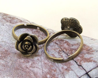 8PCS Q Antiqued Bronze Rose Flower Ring Base  DIY Kits Fit Necklace Bracelet  Pendant Jewelry Filigree Link Findings