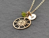 Compass Necklace, Graduation Gift, Birthstone Necklace, Compass Charm, Best Friends Gift, Friendship Necklace, Bridesmaid gift