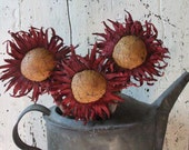 Primitive Decor Red Sunflower Picks Country Fall Decor