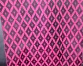 Sale STYLISH MAGENTA  Vintage Japanese Kimono silk fabric  Trellis Diamond pattern  Black  14 x 55 inches