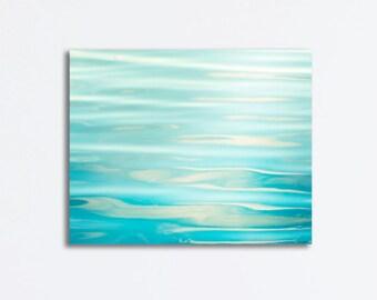 "Ocean Canvas Wrap - sea aqua blue water ripples abstract photography nautical seashore decor wall art print canvas gallery wrap, ""Soothing"""