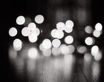 "Bokeh Photograph, black white lights dark grey sparkle photo gray neutral print sparkly decor modern photograph, ""Illuminating the Night"""