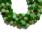 Green Mixed Stone - 10mm Faceted Round - 38 beads - Full Strand