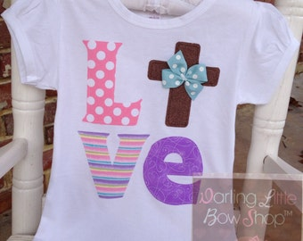 Easter Shirt or Bodysuit for girls -- For God So Loved The World -- pretty pastels LOVE with Christian cross