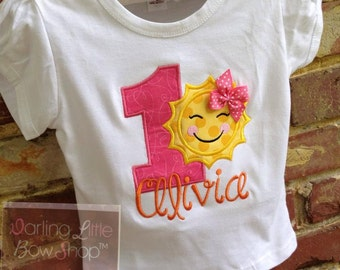 Baby Girl First Birthday Bodysuit or Shirt -- You are My Sunshine -- bodysuit or shirt in hot pink, yellow, and orange