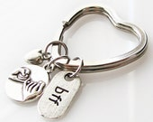 bff keychain, sister gift, pinky promise key chain, best friends gift, best friend key chain, heart keychain, gift for best friend