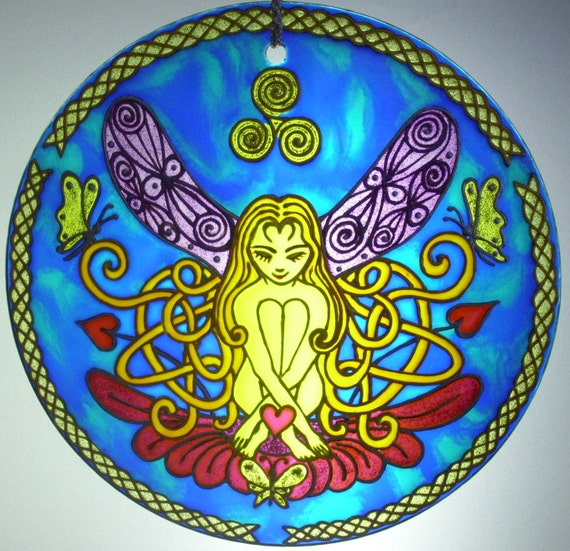 Celtic Dreaming Fairy, Original Glass Painting, Ornament, handpainted, Suncatcher, Stained Glass