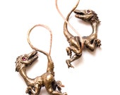 Velociraptor Bronze Ear Weights with Rhodolite Eyes - for Streched Holes