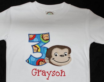 Personalized Curious George Birthday Onesie or Tshirt