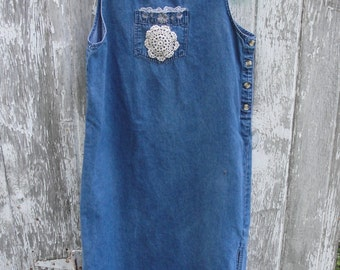 Maxi jean dress shabby chic mori girl country chic