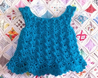 Crochet Sweetheart Dress Size 0 to 3 Month - Custom Made