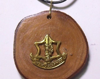 Olive wood pendant with IDF ZAHAL official emblem sign (P011)