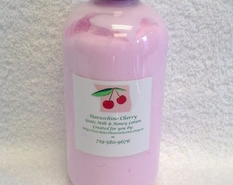 Crazy For Cherries Goats Milk and Honey Lotion-Maraschino Cherry, Cherry Blueberry Pie, A Hint of Cherry...You Choose Fragrance