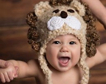 Baby Boy Baby Girl Crochet Hat Lion Earflap Photo prop Ready Item