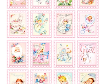 Digital Clipart, instant download, Vintage Baby Card Images babies baby girl  bassinet stamps toys--8.5 by 11--Digital Collage Sheet  1229
